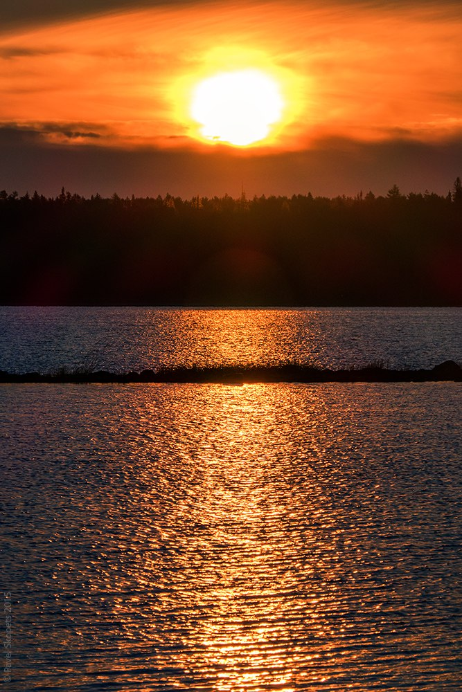 Sunset on Lake Vodlozero, Karelia, Russia