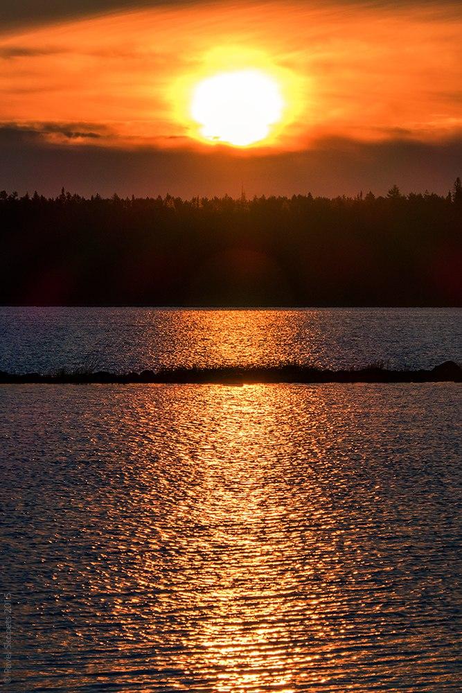 Sunset on Lake Vodlozero, Karelia, Russia